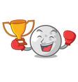boxing winner golf ball mascot cartoon vector image