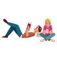 boy man reading book lying woman girl using vector image vector image