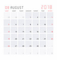 calendar august 2018 vector image vector image