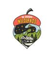 camping badge acorn design outdoor vector image vector image