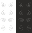 Cartoon black and white hands icon pointing vector image vector image