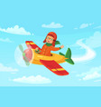 cartoon kid pilot children aviator flying in vector image