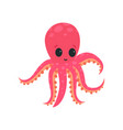 cartoon pink octopus with big shiny eyes soft vector image vector image