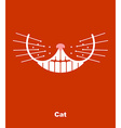 Cat smile on a red background teeth and wh vector image vector image