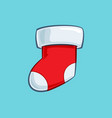 christmas cartoon icon - red stocking vector image vector image