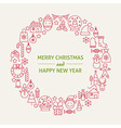 Christmas New Year Holiday Line Art Icons Set vector image