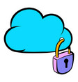 cloud security icon cartoon vector image vector image