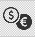 coins stack icon in flat style dollar coin on vector image