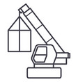 crane cargo logistics wrecker line icon vector image
