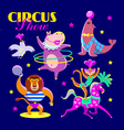 Cute circus artists in cartoon style vector image vector image