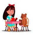 cute girl reading a book a soft toy bear vector image vector image