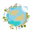 Cute of planet with houses trees buildings made in vector image vector image
