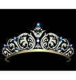 Diamond tiara with sapphires vector image vector image