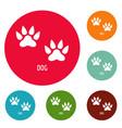 dog step icons circle set vector image vector image