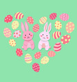 easter rabbit and egg valentine heart shape vector image vector image