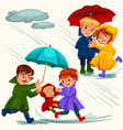 family husband and wife walking rain with umbrella vector image vector image