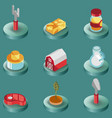 farm color isometric icons vector image vector image