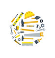flat construction tools in circle shape vector image vector image