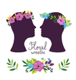 Floral wreath on the heads vector image vector image