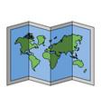 folded map world on white background vector image