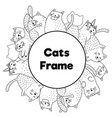 frame with funny cats in coloring page style vector image vector image