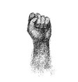 hand elbow raised up clenched fist engraving vector image vector image