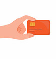 hand holding credit card debit card or sim card vector image vector image