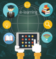 Hand with Tablet with E-Learning Icons Frame vector image vector image