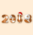 happy chinese new year 2018 dog in santa hat vector image vector image