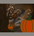 happy halloween card with tree and pumpkin vector image vector image