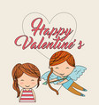 happy valentines cute girl and cupid with bow vector image vector image