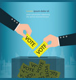 human hand holding election vote ballot in ballot vector image
