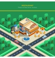 Isometric City Landscape With Restaurant Building vector image vector image