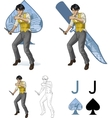 Jack of spades asian brawling man Mafia card set