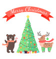 merry christmas greetings cartoon bear and deer vector image