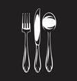 monochrome set cutlery - fork spoon vector image