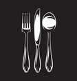 monochrome set of cutlery - fork spoon vector image vector image