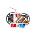 movie cinema poster popcorn tape glasses vector image
