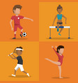 multicolored square buttons set of athletes of vector image vector image