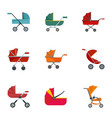 pram icon set flat style vector image vector image