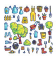 set of gardening items and tools vector image