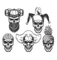 set of skull in fun headwear vector image vector image