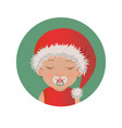 slipping with pacifier baby santa claus emoticon vector image vector image