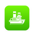 small ship icon digital green vector image vector image