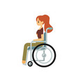 smiling handicapped woman sitting in wheelchair in vector image vector image