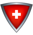 steel shield with flag switzerland vector image vector image