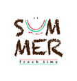 summer slogan with cut watermelon vector image vector image