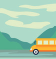 tourist bus driving on the road vector image vector image