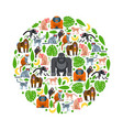 tropical apes and monkeys in round frame vector image vector image