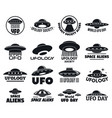 ufo flying logo set simple style vector image vector image
